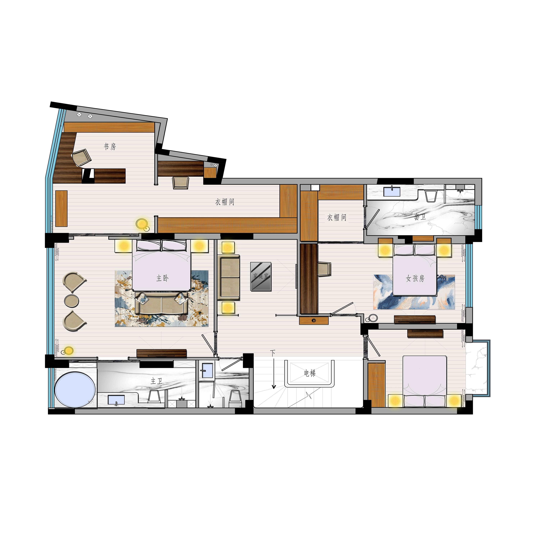 圣莫丽斯350m²-现代轻奢风格设计-高端别墅装修效果图装修设计理念