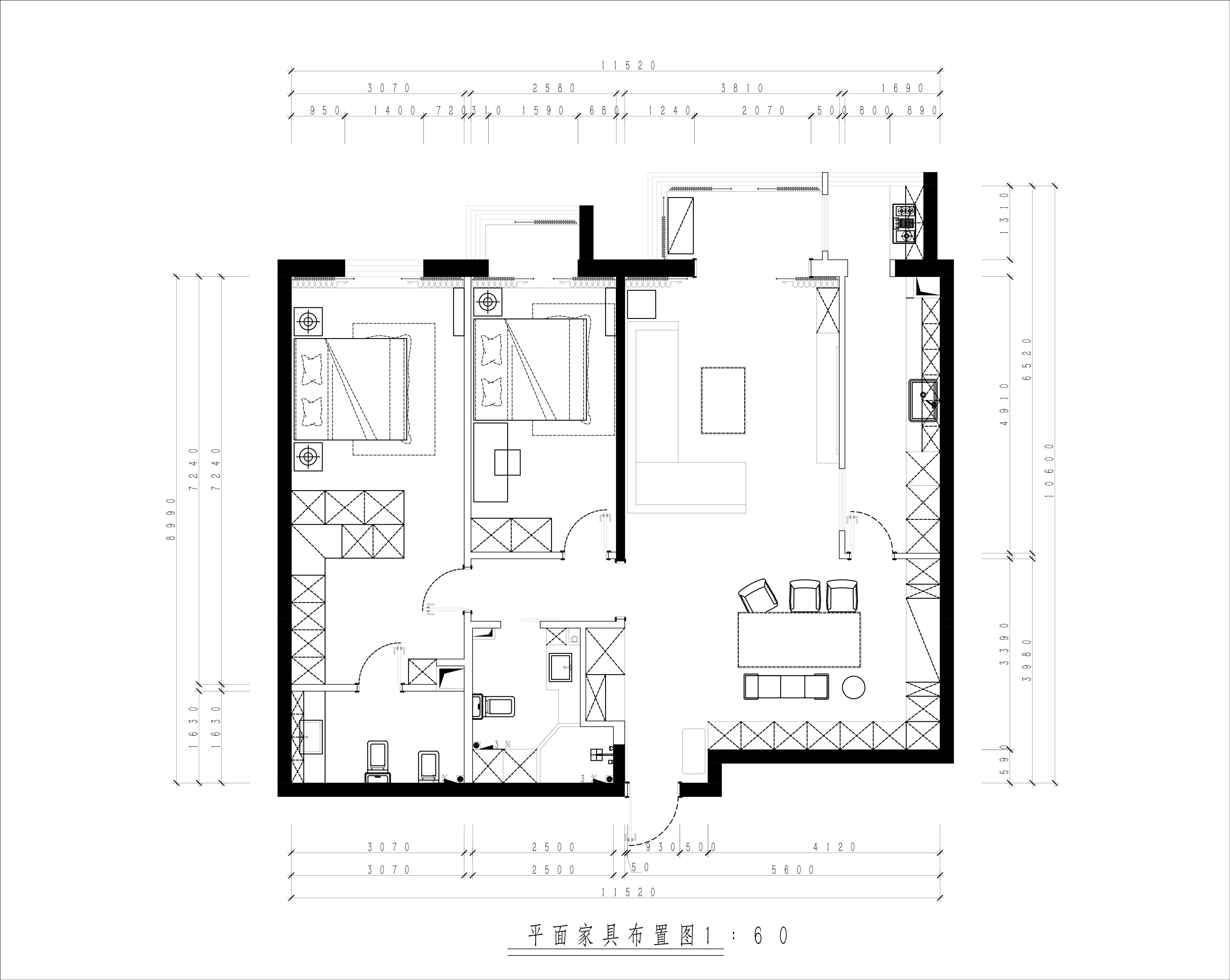增光佳苑-120平米-现代轻奢风格装修案例装修设计理念