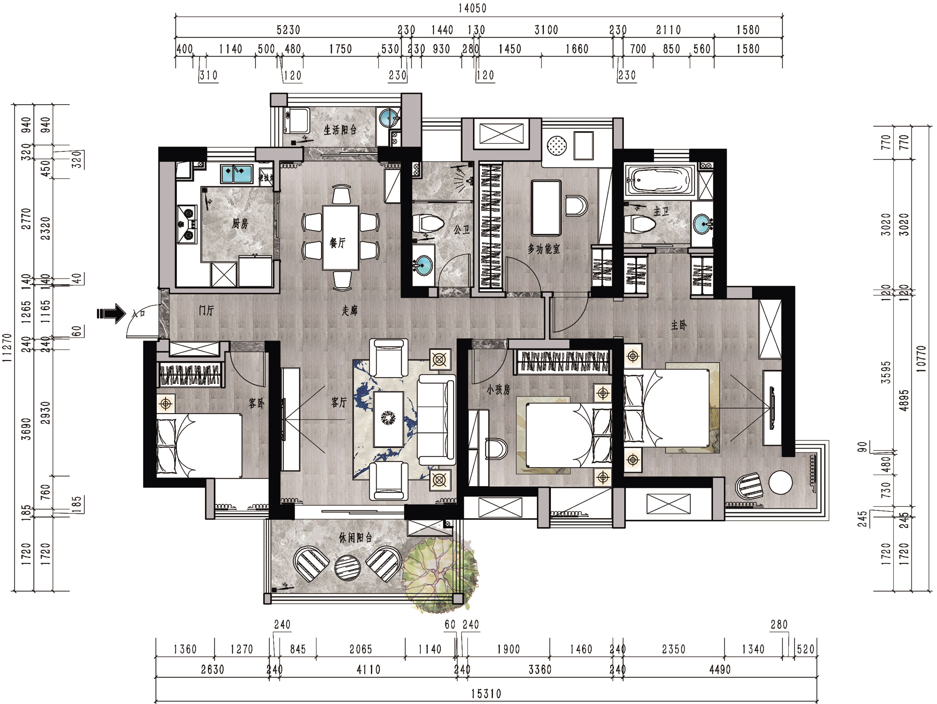 新长江香榭东沙152平米简约美式装修效果图装修设计理念