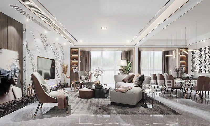 270㎡现代轻奢客厅别墅设计