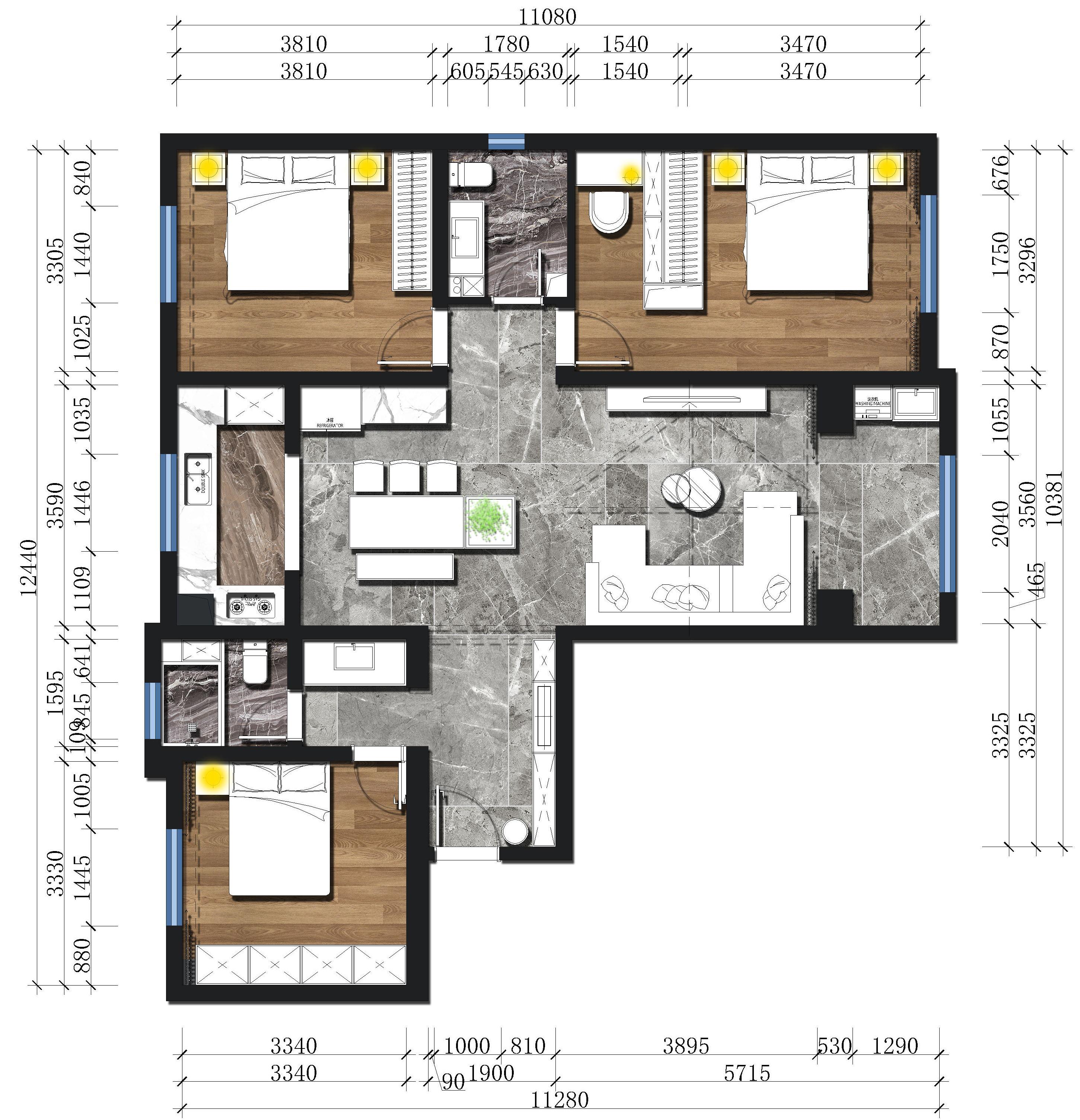 兰州嘉盛园小区-131平米-现代风格装修户型解析装修设计理念