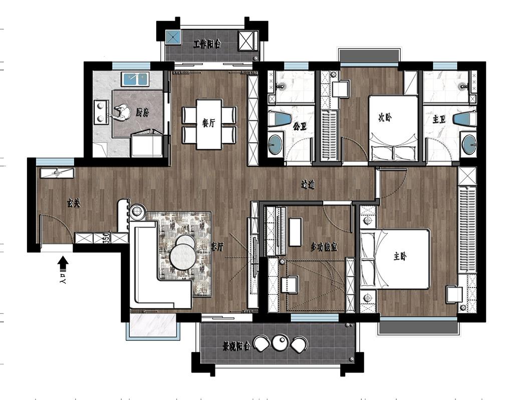 东莞虎门湖山雅居-124㎡北欧风三房二厅装修效果图装修设计理念