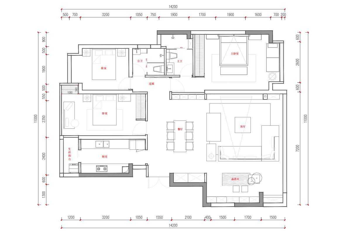 金科-江湖海136㎡新中式风格装修效果图装修设计理念