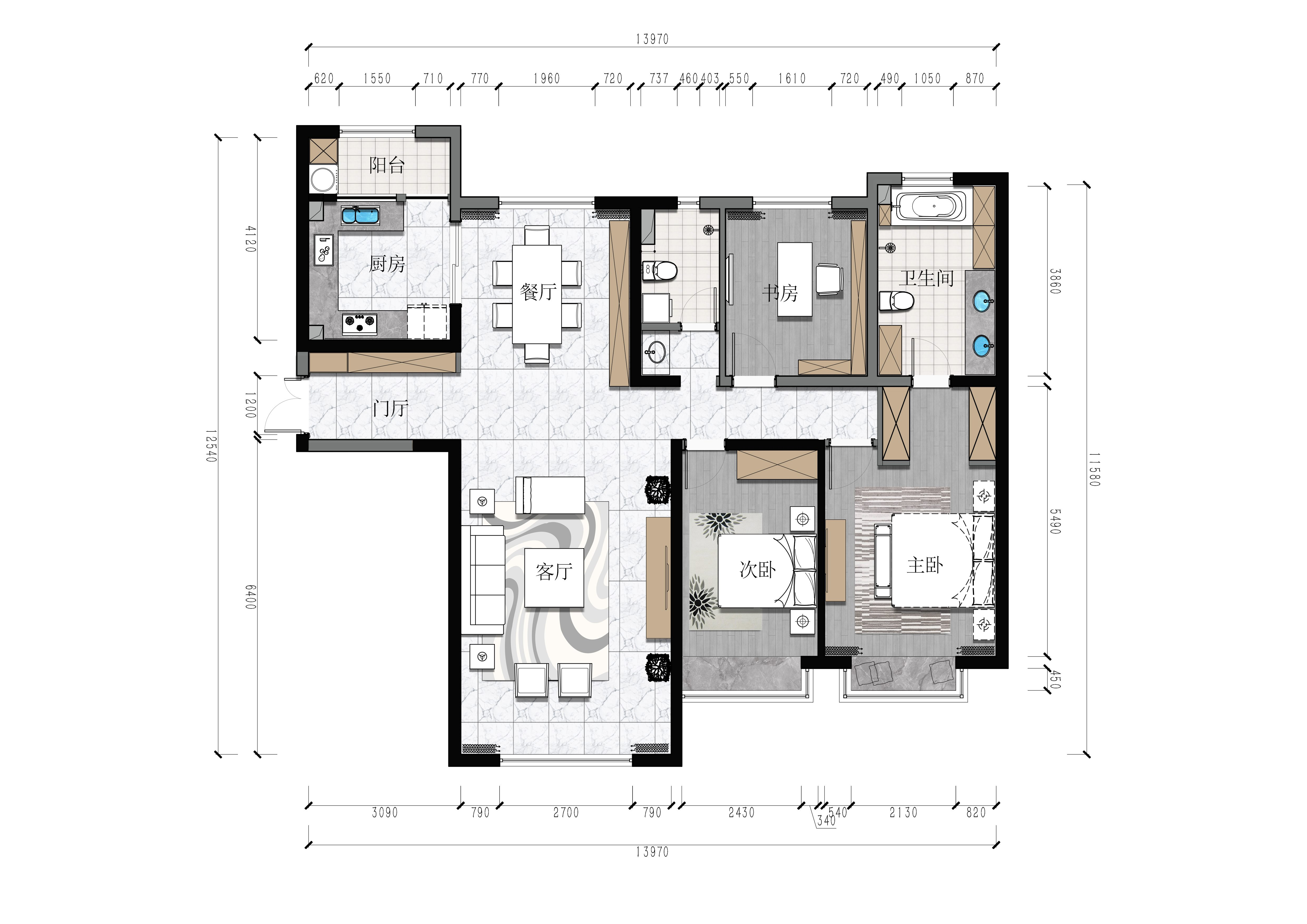 银河国际-164平米-北欧风格装修案例效果图装修设计理念