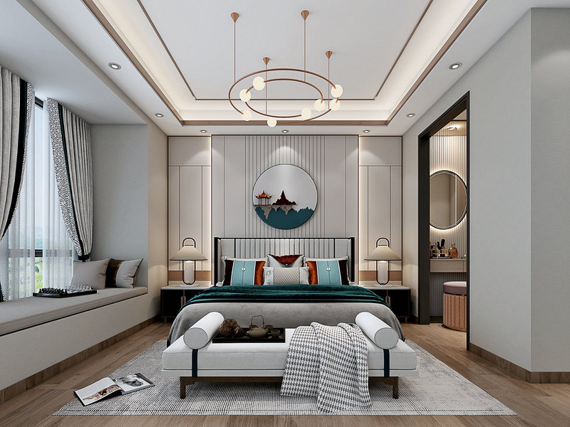 小户型客厅装修如何显宽敞?这套100平方新中式风太nice了!
