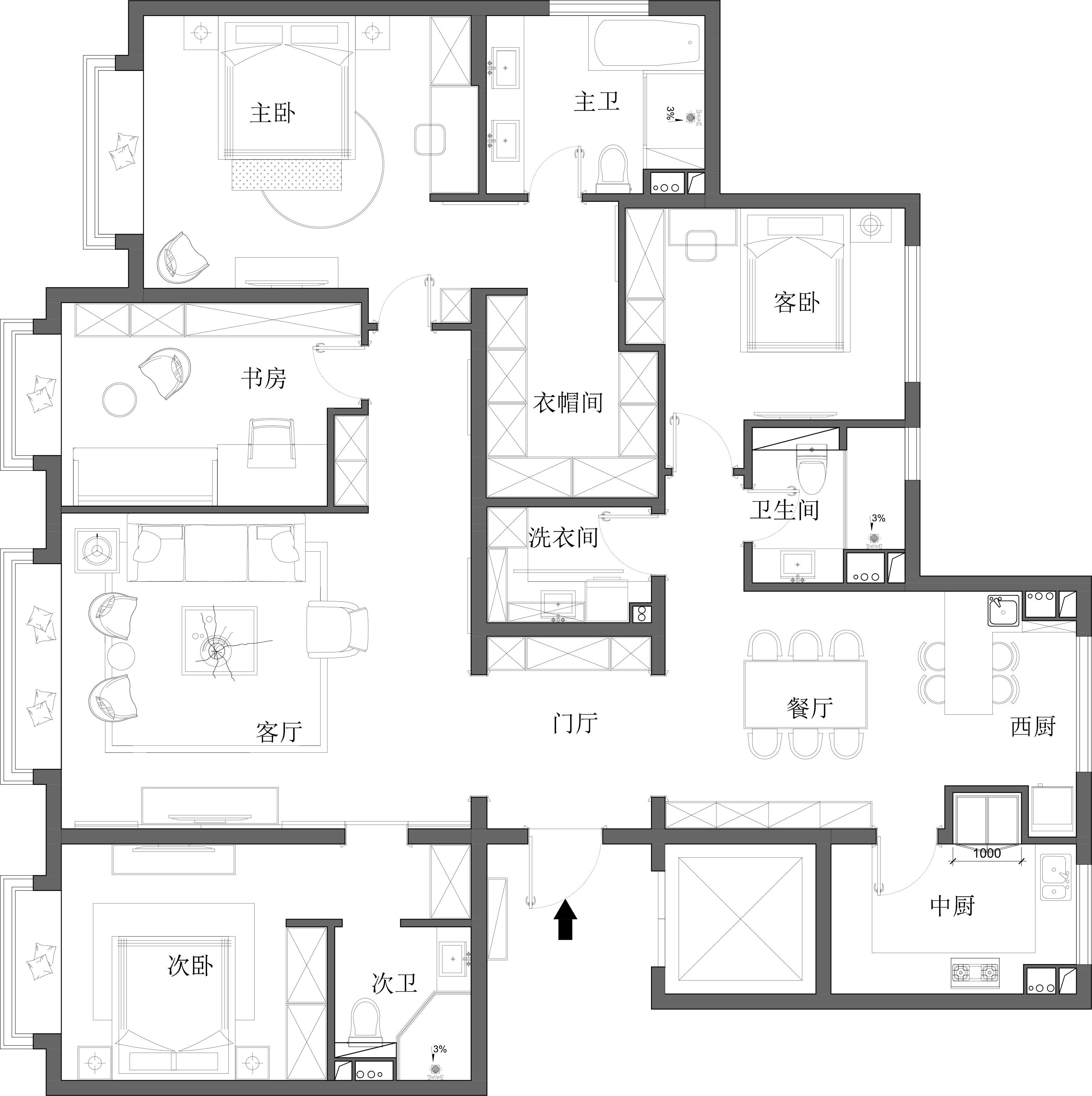 中国玺-现代中式-218㎡装修设计理念