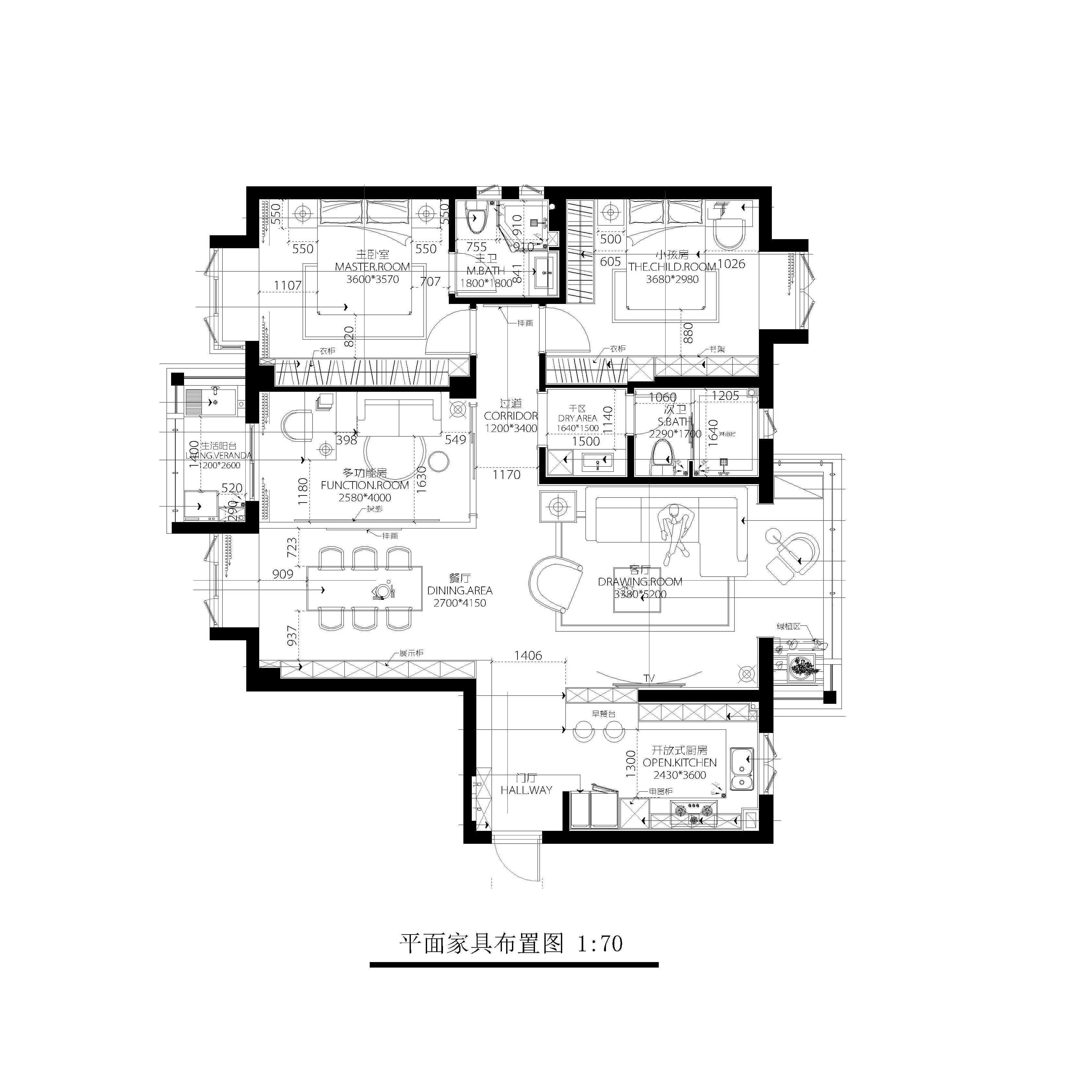 碧海银滩-115平米三室两厅-现代极简风格装修效果图装修设计理念