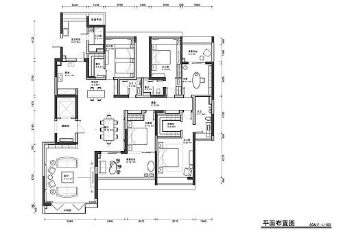 美的广场255平米现代中式案例效果装修设计理念