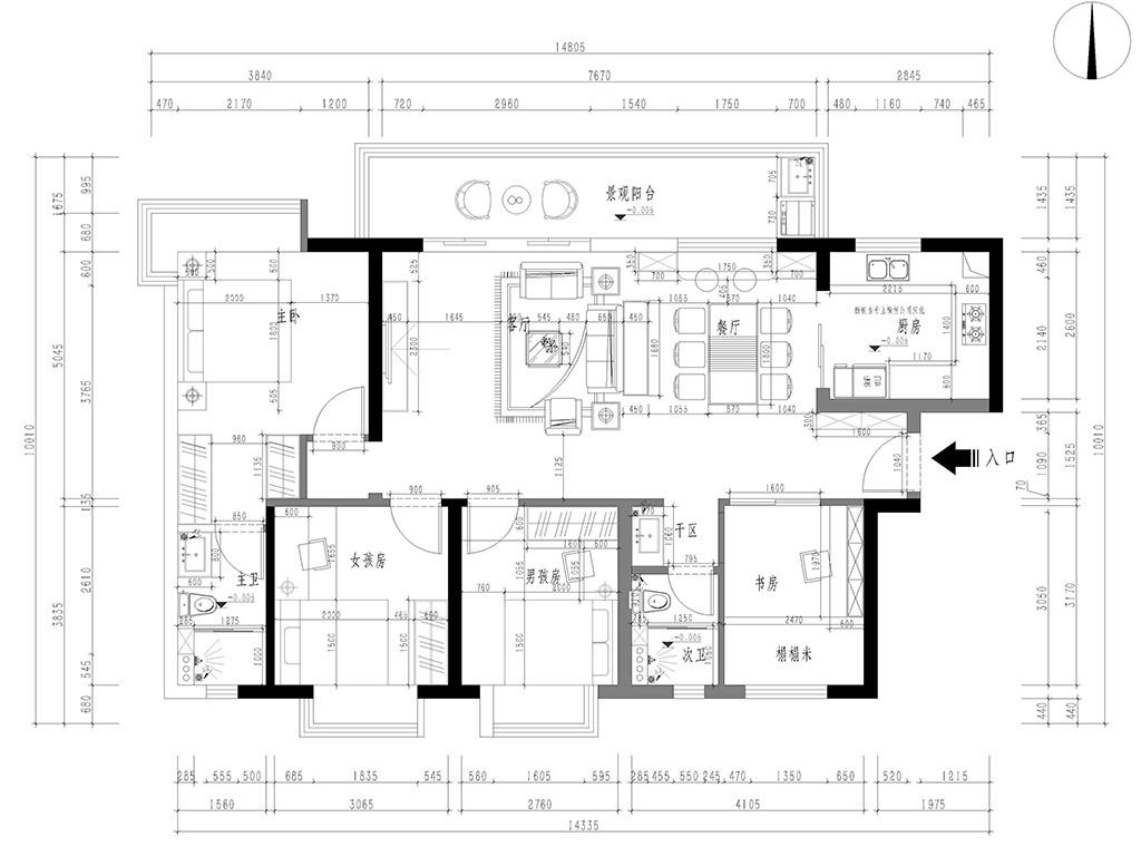 东莞万江艺境水岸家装案例-132㎡四房现代简约装修设计装修设计理念