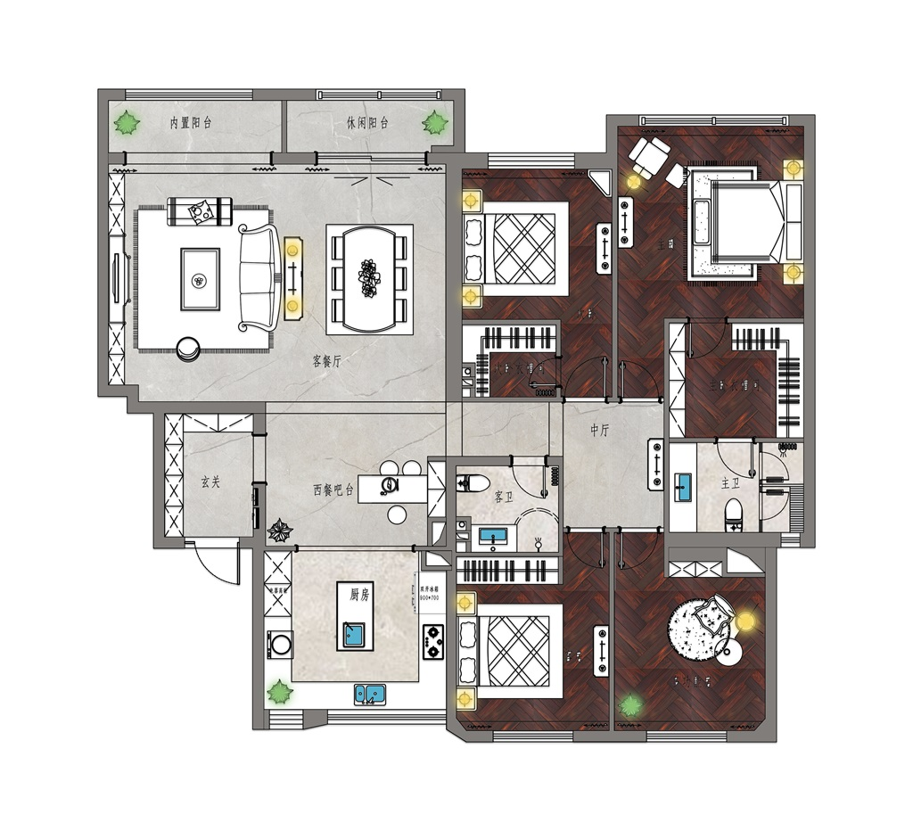 西山意境200平米现代美式风格装修效果图装修设计理念
