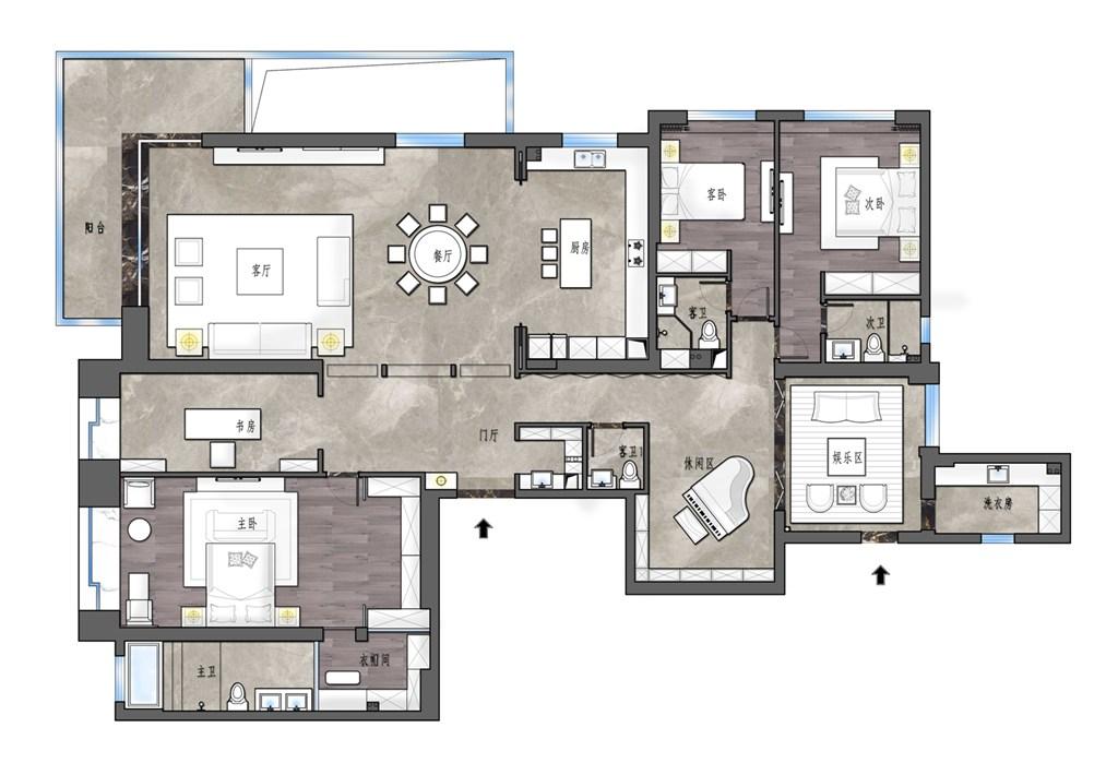 西北湖壹号御玺湾318平米现代风格装修效果图装修设计理念