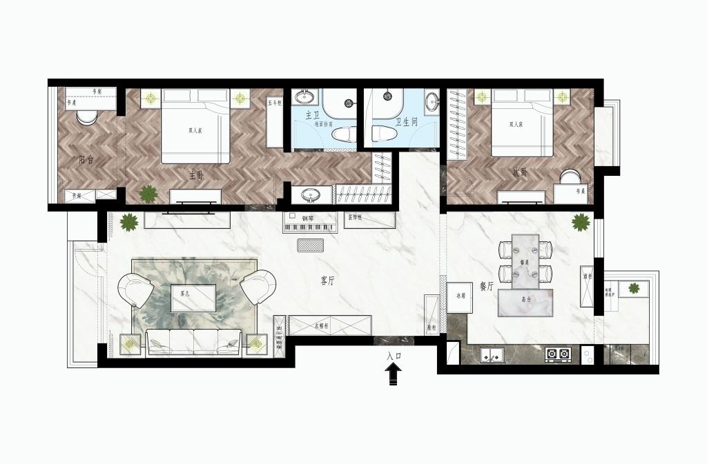 远洋风景-122平米-现代轻奢风格装修效果图装修设计理念