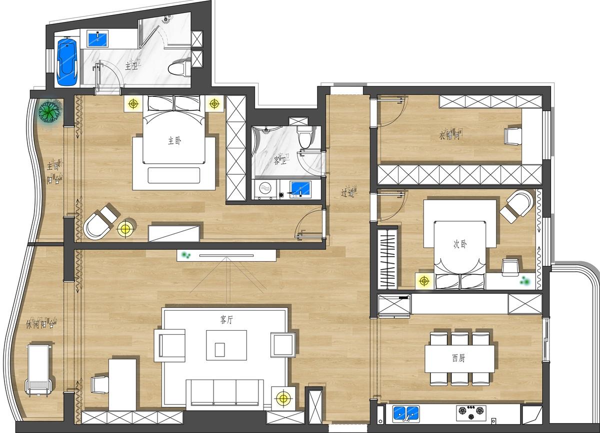 紫云轩 北欧 200平米装修设计理念