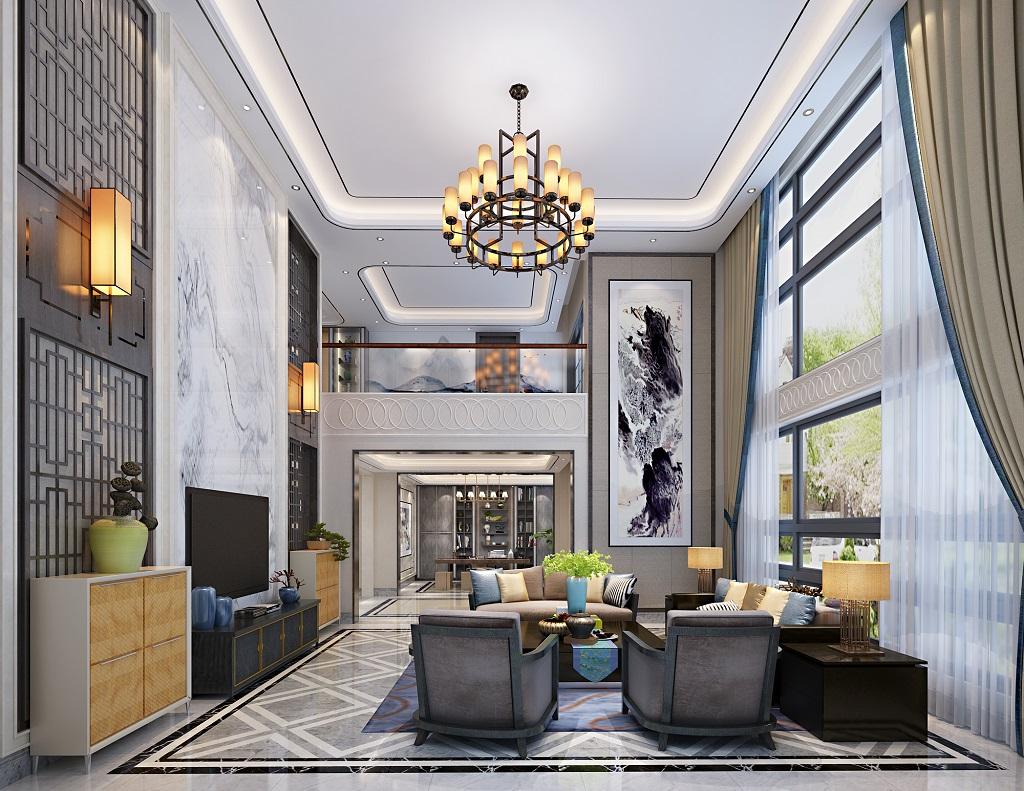 燊荣豪庭别墅631㎡现代新中式装修效果图装修设计理念