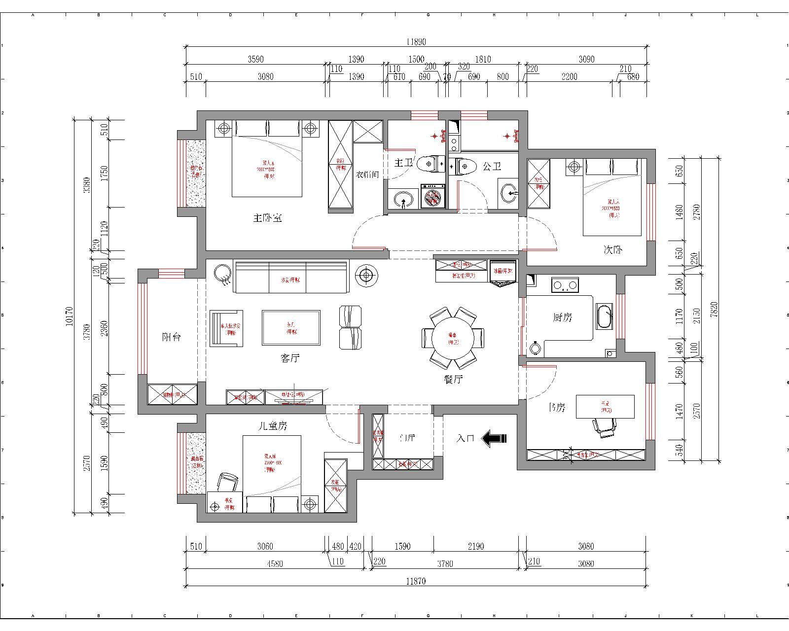 学府澜湾小区-127平米-中式装修设计理念