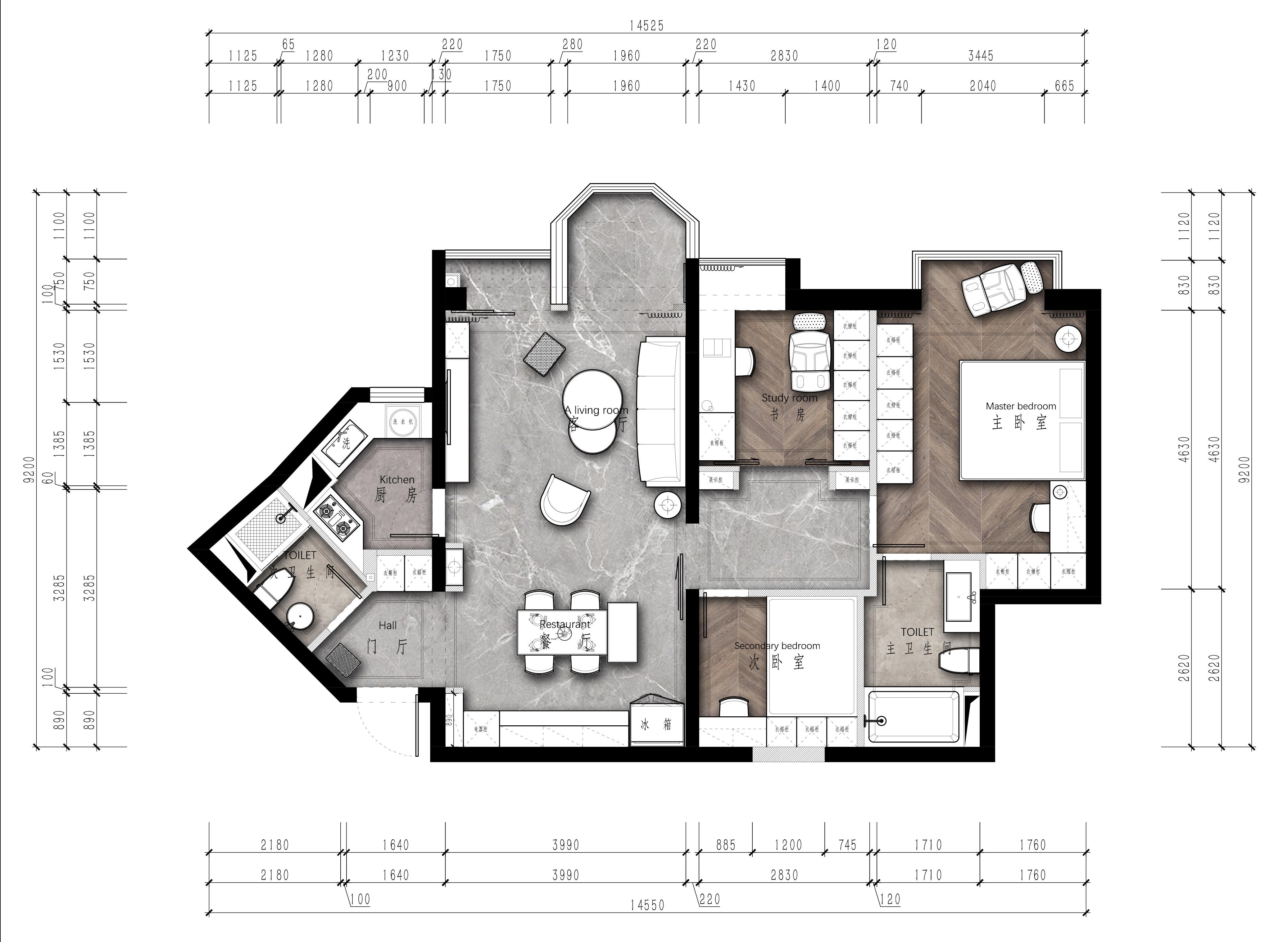 罗马嘉园-120平米-现代简约风格装修案例装修设计理念