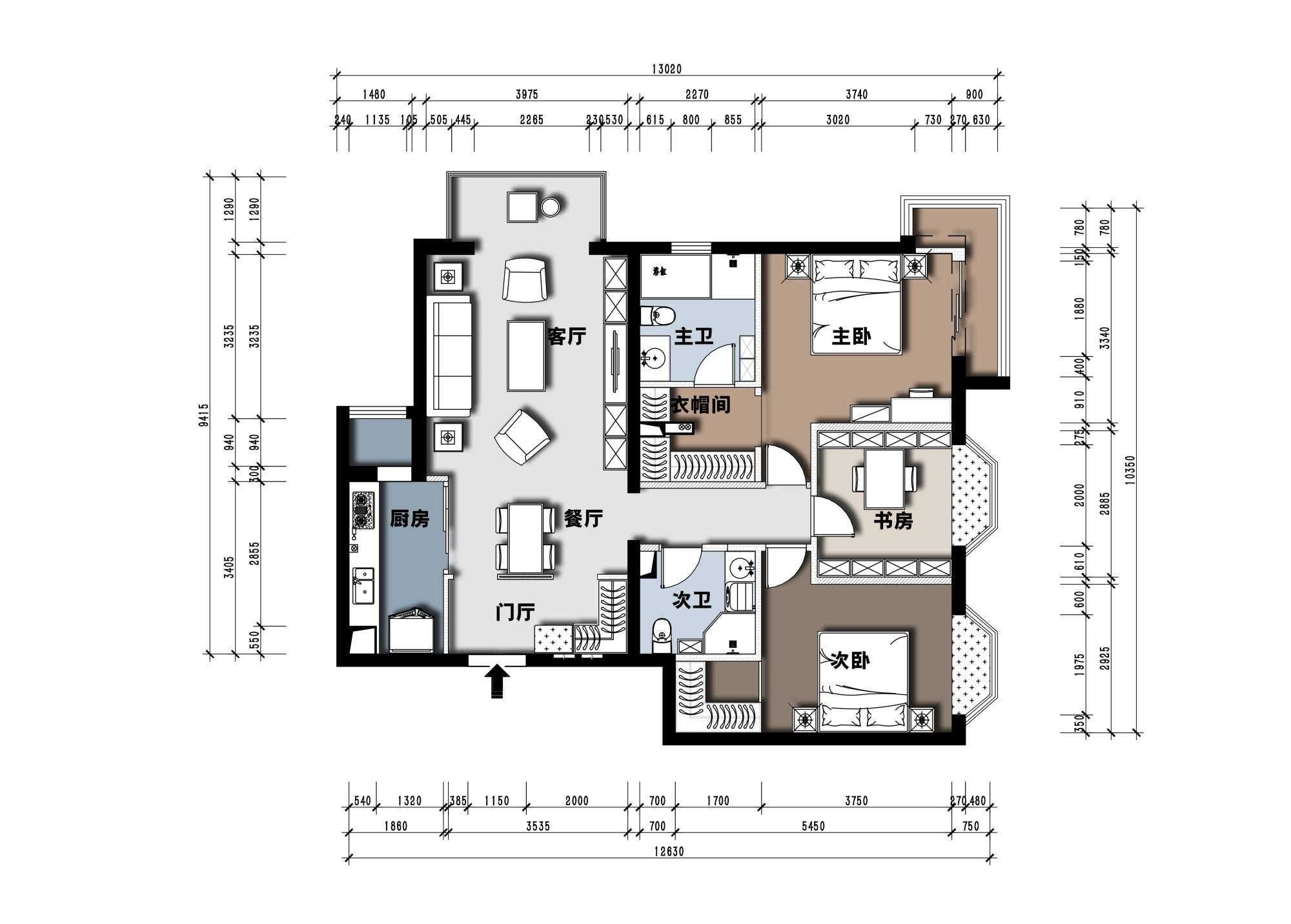 朗琴园-102平米-新中式风格装修案例装修设计理念