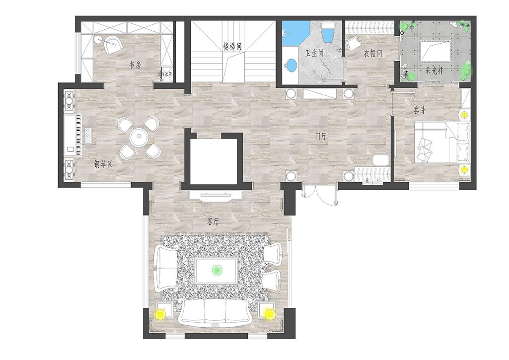棠颂别墅-独栋别墅500㎡现代美式风格装修效果图装修设计理念