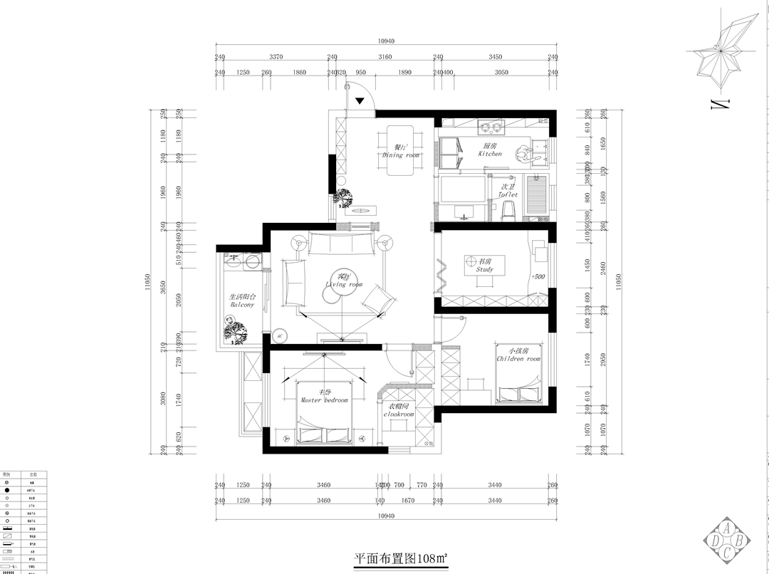 保利西海岸110平新中式三居效果图装修设计理念