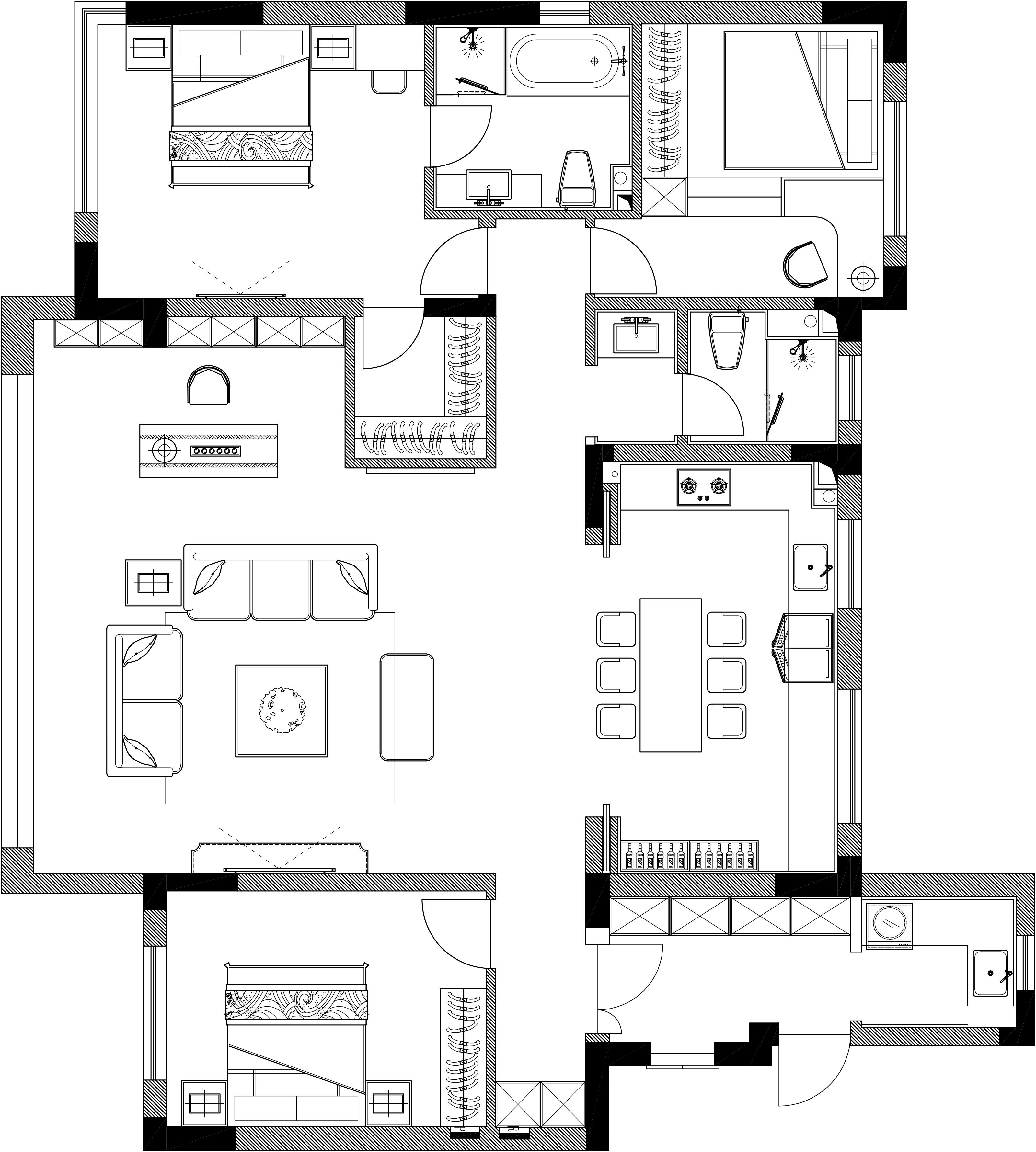 保利云禧150平现代简约风格装修效果图装修设计理念