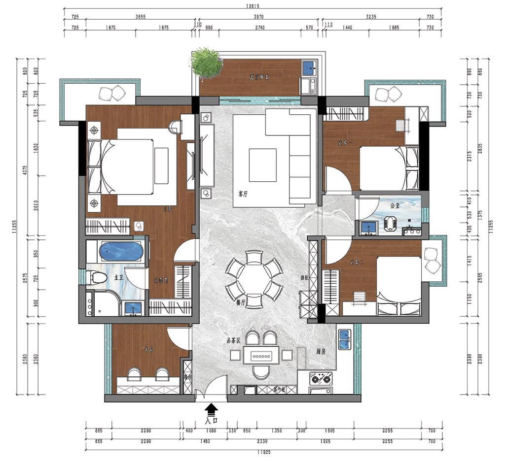 东莞中堂富盈公馆装修案例-135㎡四房新中式装修设计装修设计理念