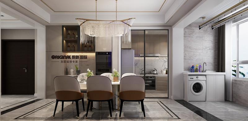 现代轻奢风格装修,三室两厅装修效果图