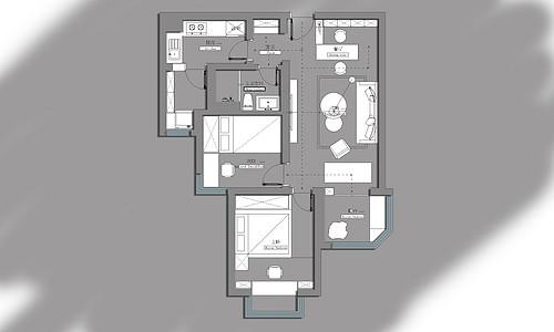 恒大绿洲 97平米两居室装修 北欧风格装修效果图装修设计理念