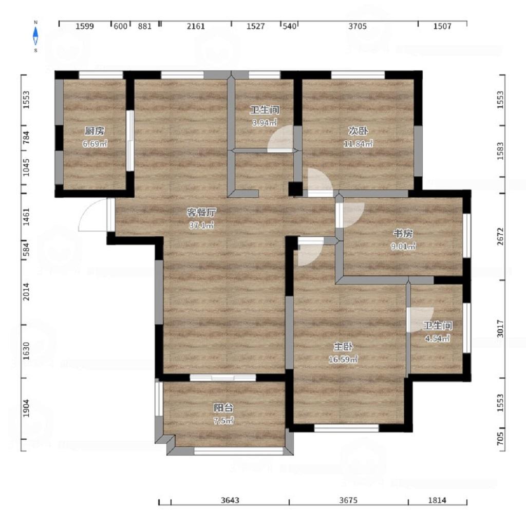 御湖观邸130平现代简约风格三室两厅装修案例装修设计理念